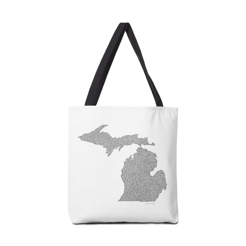 Michigan - One Continuous Line Accessories Bag by Daniel Dugan's Artist Shop