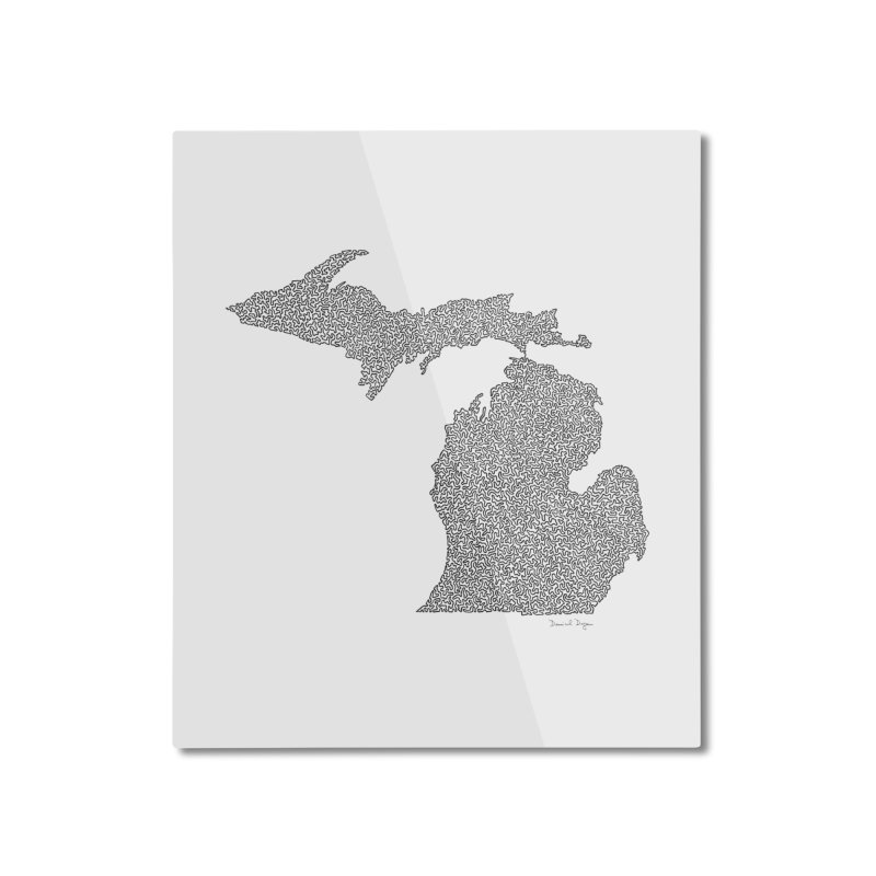 Michigan - One Continuous Line Home Mounted Aluminum Print by Daniel Dugan's Artist Shop
