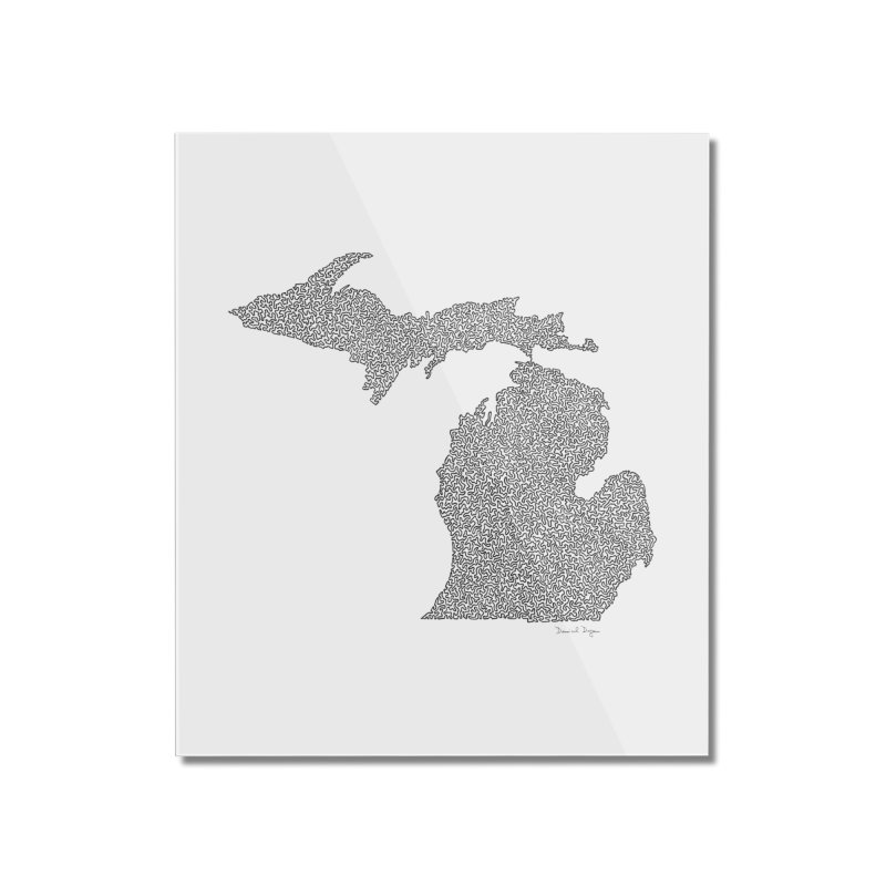 Michigan - One Continuous Line Home Mounted Acrylic Print by Daniel Dugan's Artist Shop