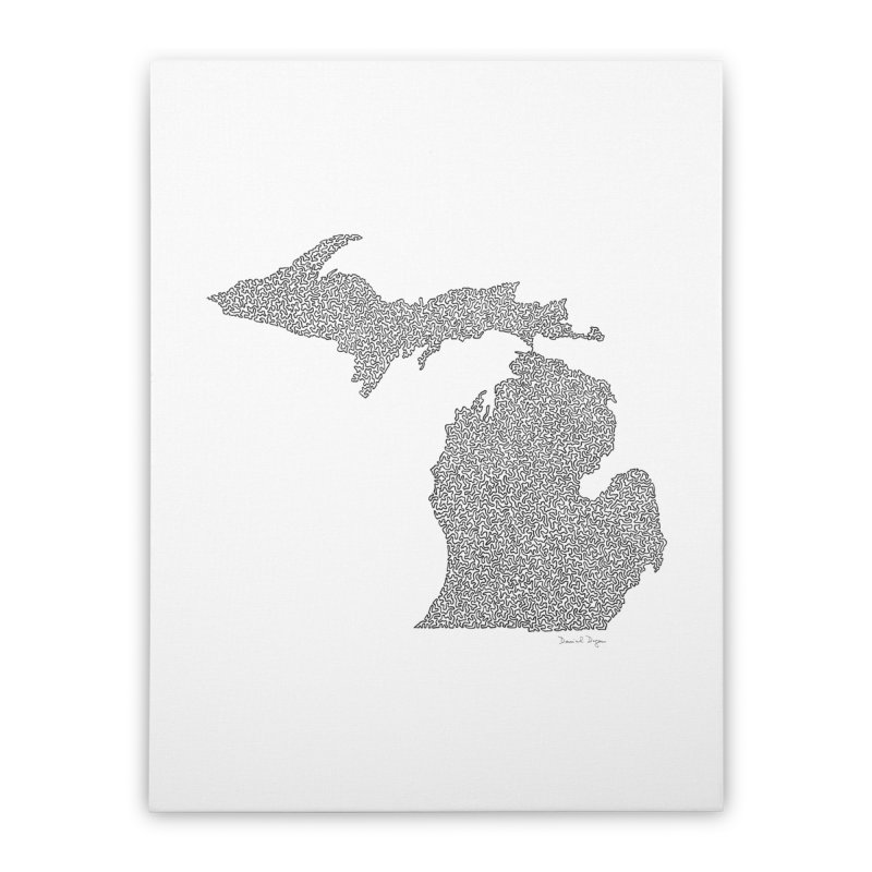 Michigan - One Continuous Line Home Stretched Canvas by Daniel Dugan's Artist Shop