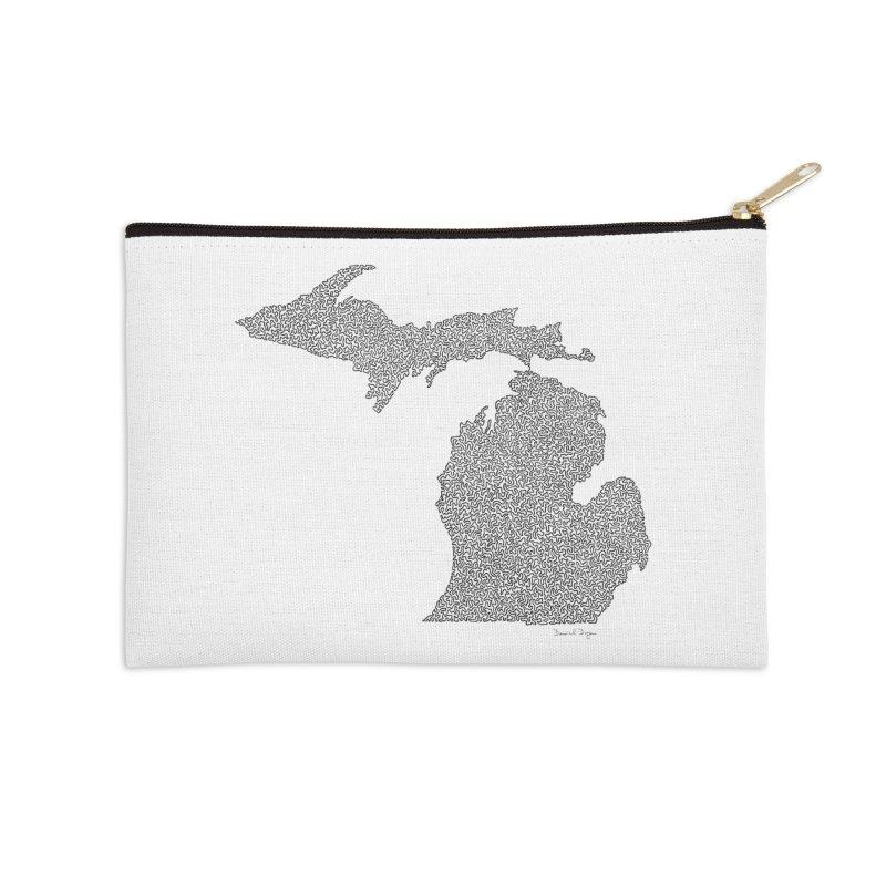 Michigan - One Continuous Line Accessories Zip Pouch by Daniel Dugan's Artist Shop
