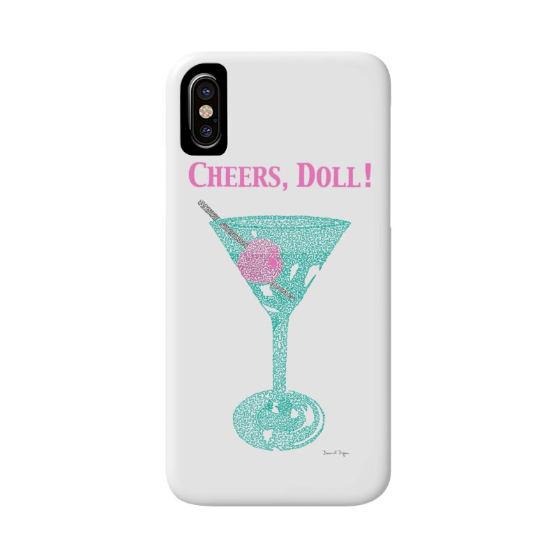 Cheers, Doll! Martini - One Continuous Line Accessories Phone Case by Daniel Dugan's Artist Shop