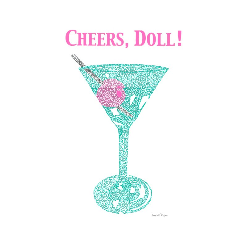 Cheers, Doll! Martini - One Continuous Line Accessories Water Bottle by Daniel Dugan's Artist Shop