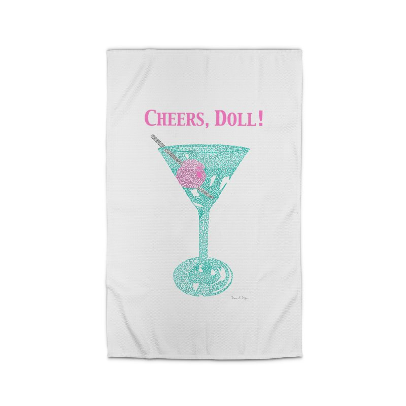 Cheers, Doll! Martini - One Continuous Line Home Rug by Daniel Dugan's Artist Shop