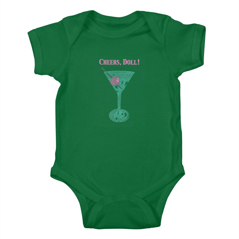 Cheers, Doll! Martini - One Continuous Line Kids Baby Bodysuit by Daniel Dugan's Artist Shop