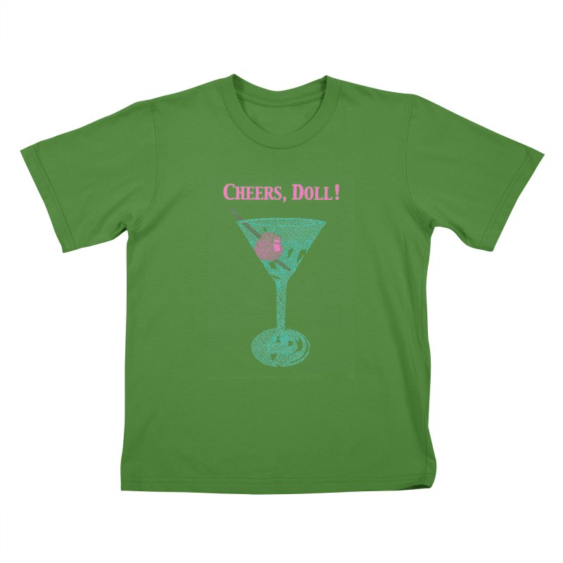 Cheers, Doll! Martini - One Continuous Line Kids T-Shirt by Daniel Dugan's Artist Shop