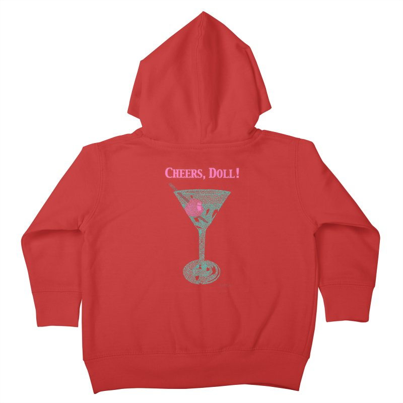 Cheers, Doll! Martini - One Continuous Line Kids Toddler Zip-Up Hoody by Daniel Dugan's Artist Shop