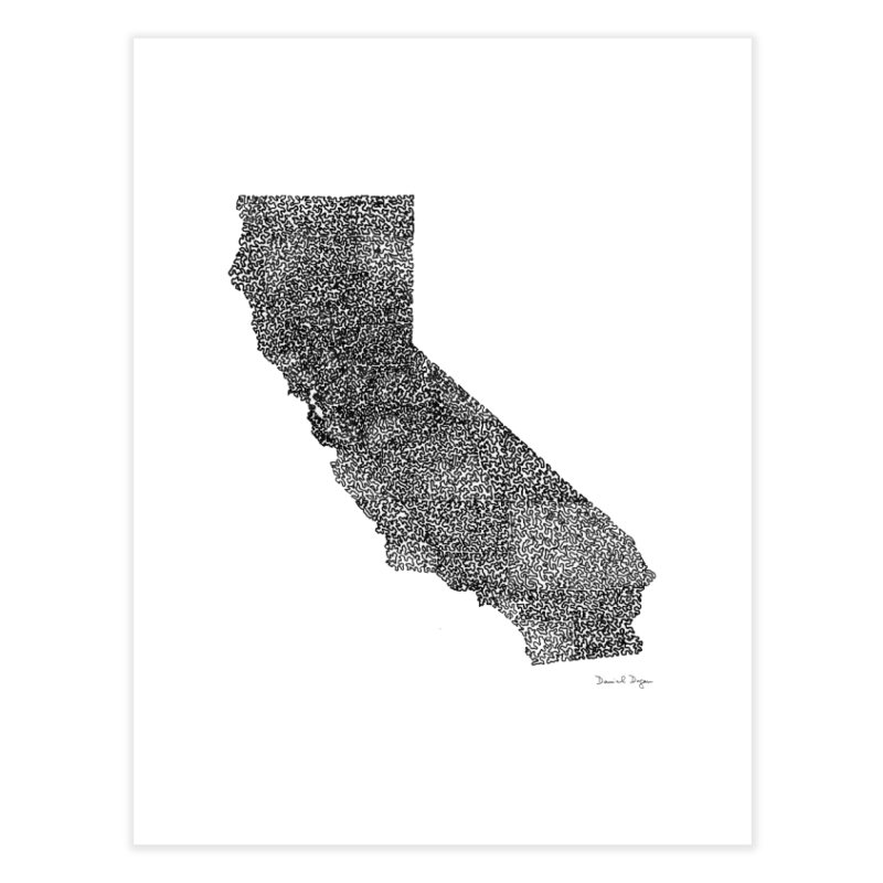 California - One Continuous Line Home Fine Art Print by Daniel Dugan's Artist Shop