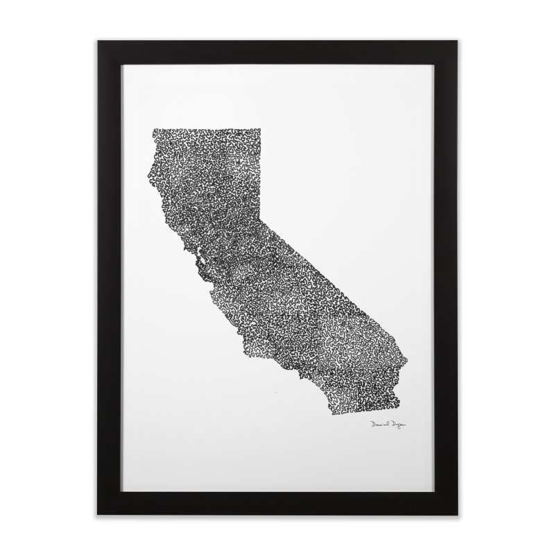 California - One Continuous Line Home Framed Fine Art Print by Daniel Dugan's Artist Shop
