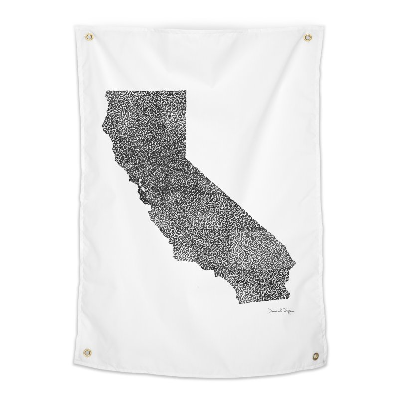 California - One Continuous Line Home Tapestry by Daniel Dugan's Artist Shop