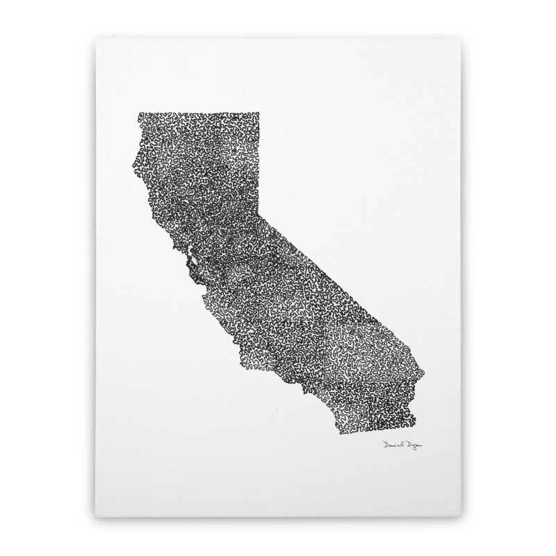 California - One Continuous Line Home Stretched Canvas by Daniel Dugan's Artist Shop