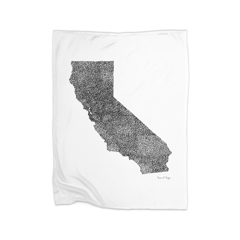 California - One Continuous Line Home Blanket by Daniel Dugan's Artist Shop