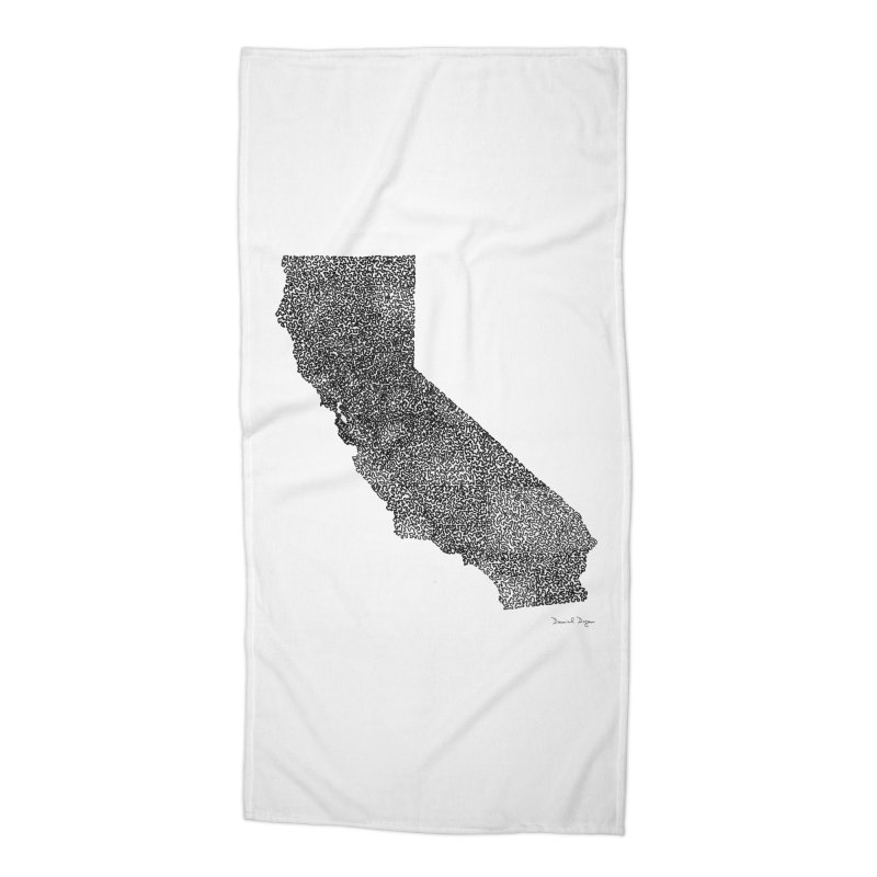 California - One Continuous Line Accessories Beach Towel by Daniel Dugan's Artist Shop