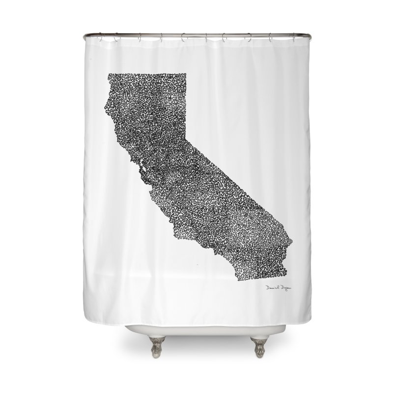 California - One Continuous Line Home Shower Curtain by Daniel Dugan's Artist Shop