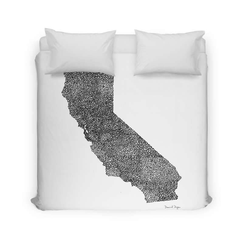 California - One Continuous Line Home Duvet by Daniel Dugan's Artist Shop