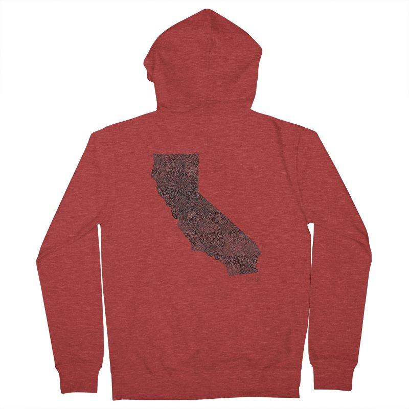 California - One Continuous Line Women's French Terry Zip-Up Hoody by Daniel Dugan's Artist Shop