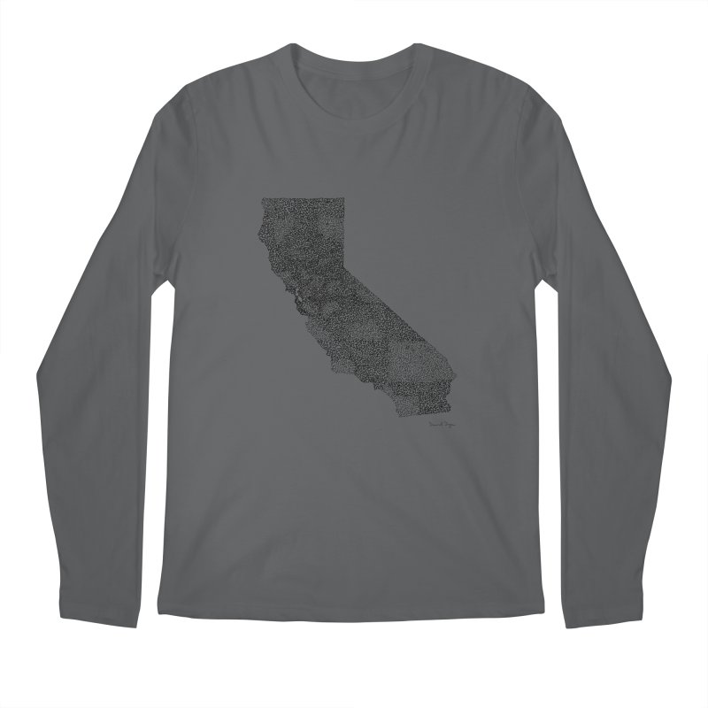 California - One Continuous Line Men's Longsleeve T-Shirt by Daniel Dugan's Artist Shop