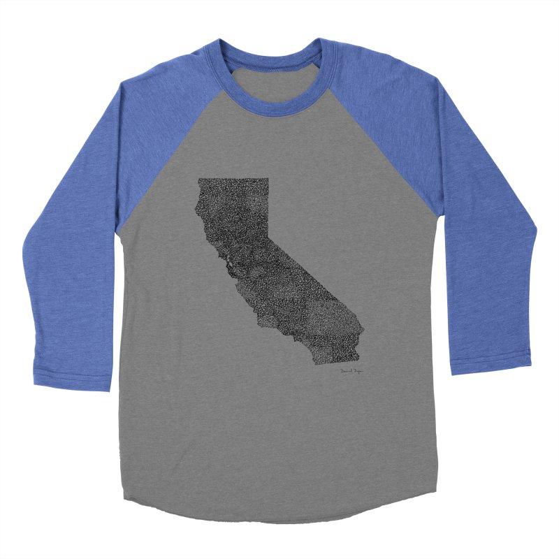 California - One Continuous Line Women's Baseball Triblend T-Shirt by Daniel Dugan's Artist Shop