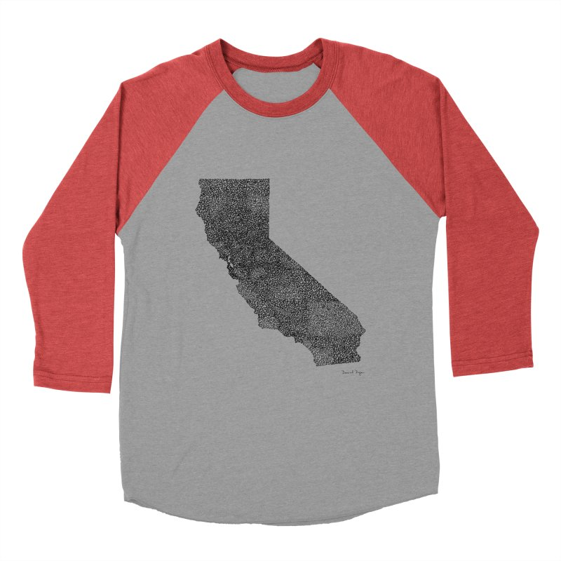 California - One Continuous Line Women's Baseball Triblend T-Shirt by Daniel Dugan's Artist Shop