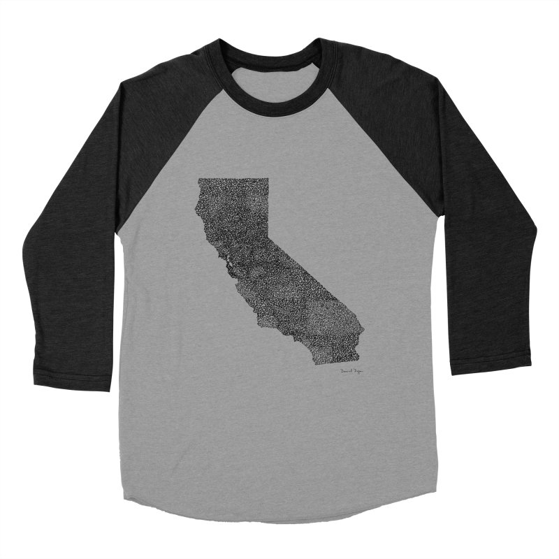 California - One Continuous Line Men's Baseball Triblend Longsleeve T-Shirt by Daniel Dugan's Artist Shop