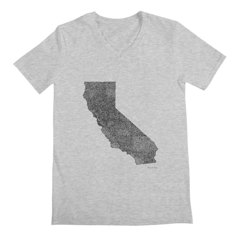 California - One Continuous Line Men's V-Neck by Daniel Dugan's Artist Shop