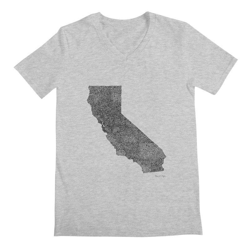 California - One Continuous Line Men's Regular V-Neck by Daniel Dugan's Artist Shop