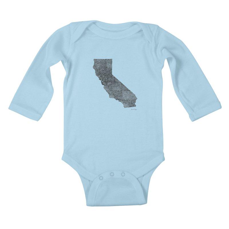 California - One Continuous Line Kids Baby Longsleeve Bodysuit by Daniel Dugan's Artist Shop