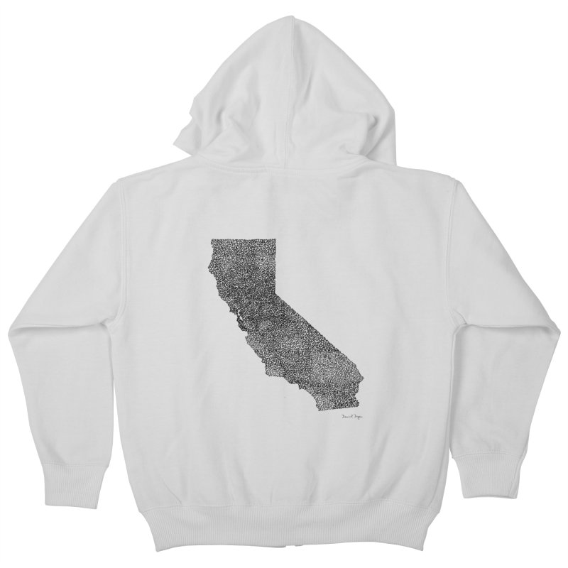 California - One Continuous Line Kids Zip-Up Hoody by Daniel Dugan's Artist Shop