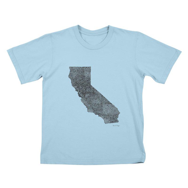 California - One Continuous Line Kids T-Shirt by Daniel Dugan's Artist Shop