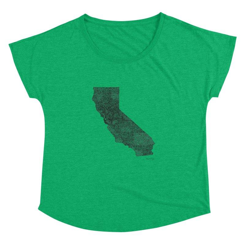 California - One Continuous Line Women's Dolman Scoop Neck by Daniel Dugan's Artist Shop