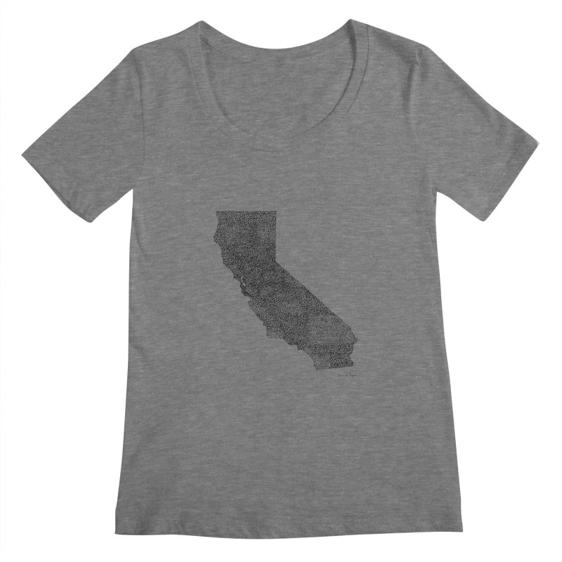 California - One Continuous Line Women's Scoopneck by Daniel Dugan's Artist Shop