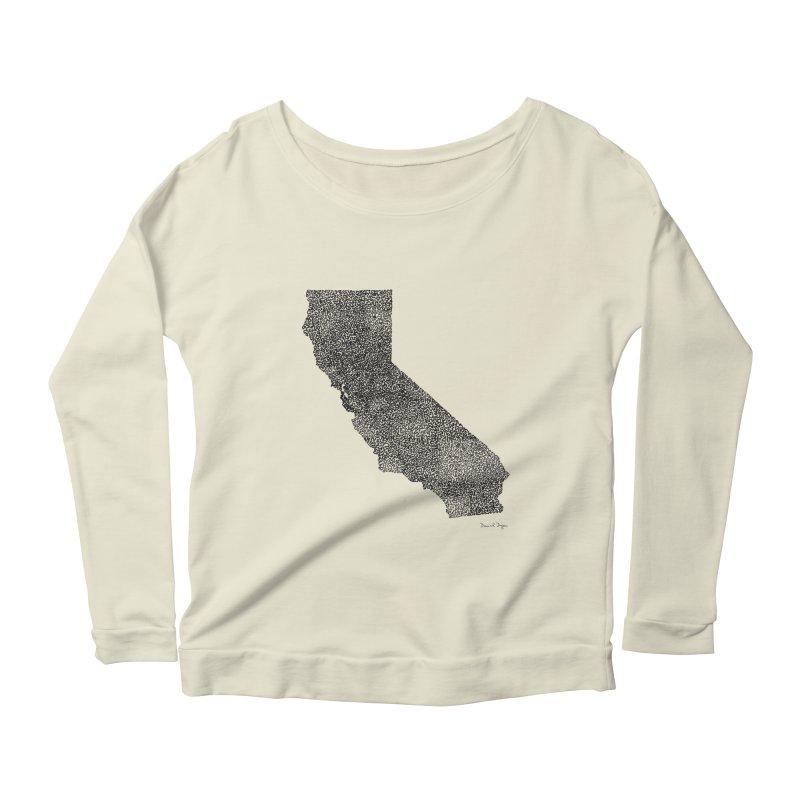 California - One Continuous Line Women's Longsleeve Scoopneck  by Daniel Dugan's Artist Shop