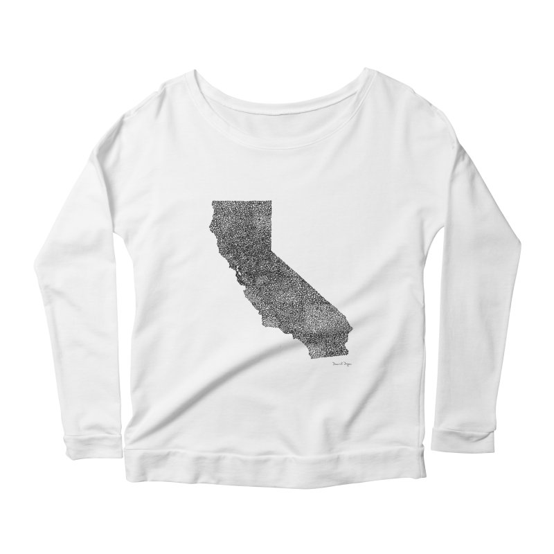 California - One Continuous Line Women's Longsleeve Scoopneck  by Daniel Dugan's Artist Shop