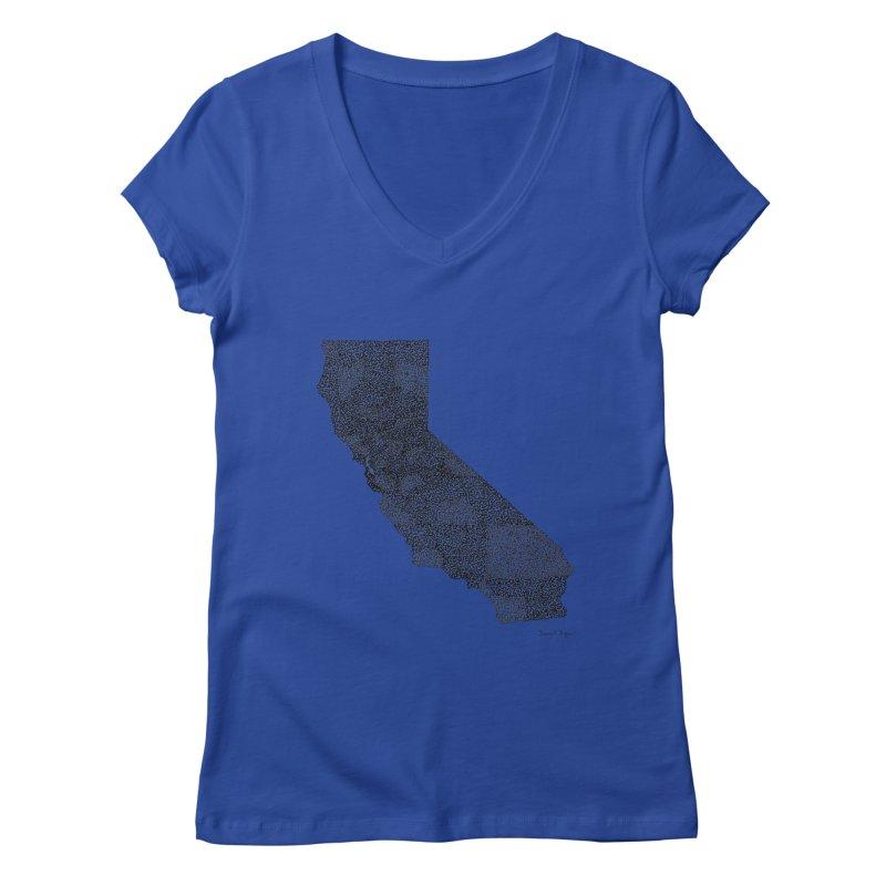 California - One Continuous Line Women's Regular V-Neck by Daniel Dugan's Artist Shop