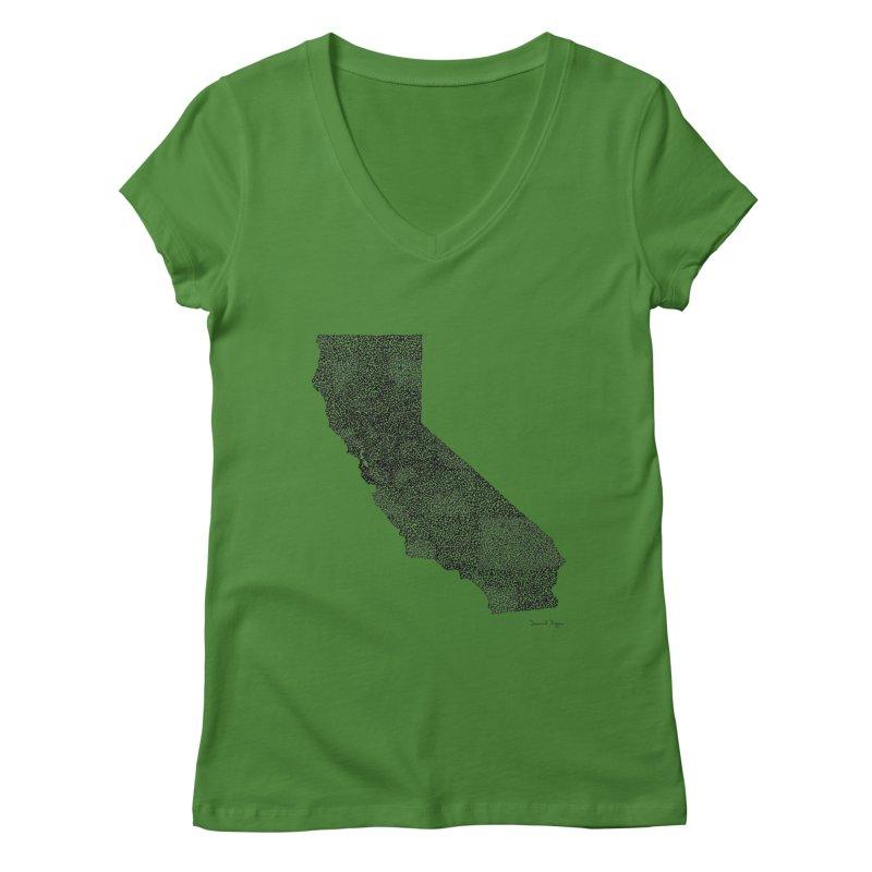 California - One Continuous Line Women's V-Neck by Daniel Dugan's Artist Shop