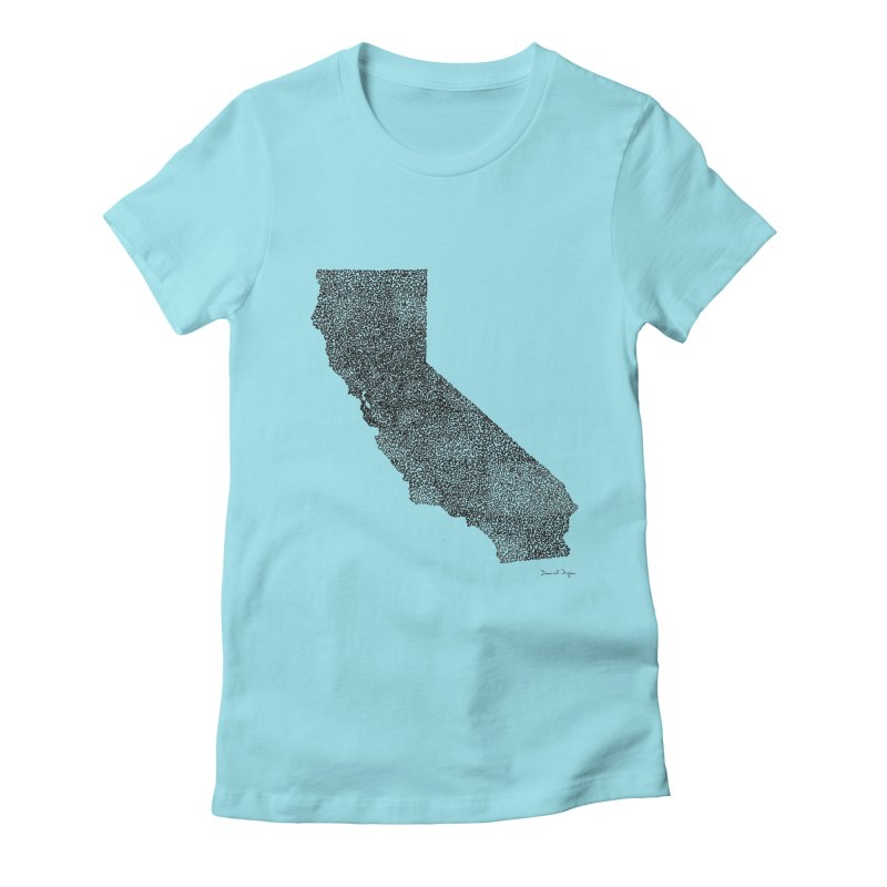 California - One Continuous Line Women's Fitted T-Shirt by Daniel Dugan's Artist Shop