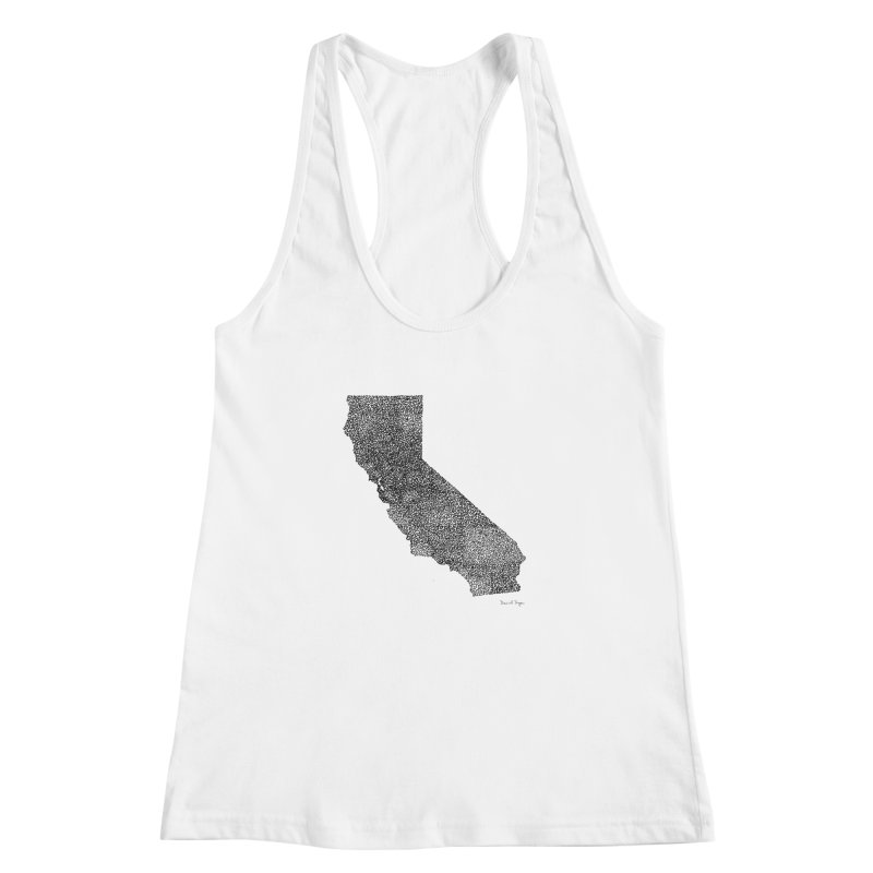 California - One Continuous Line Women's Racerback Tank by Daniel Dugan's Artist Shop
