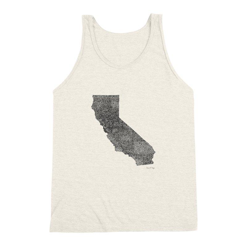 California - One Continuous Line Men's Triblend Tank by Daniel Dugan's Artist Shop