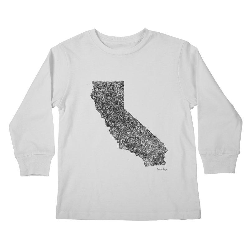 California - One Continuous Line Kids Longsleeve T-Shirt by Daniel Dugan's Artist Shop