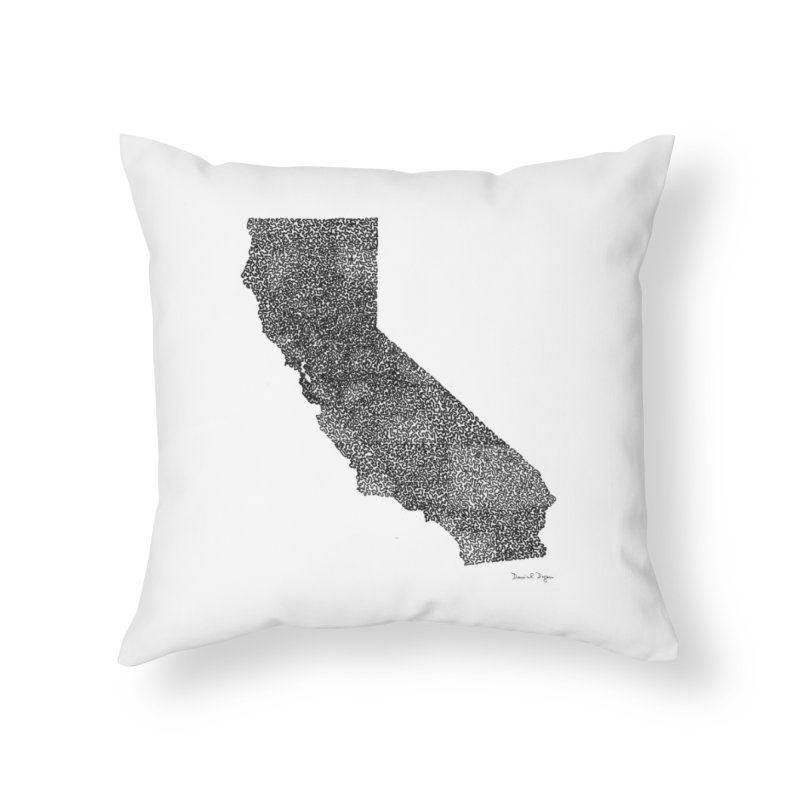 California - One Continuous Line Home Throw Pillow by Daniel Dugan's Artist Shop