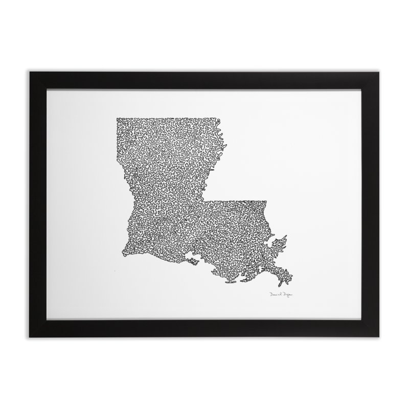 Louisiana - One Continuous Line Home Framed Fine Art Print by Daniel Dugan's Artist Shop