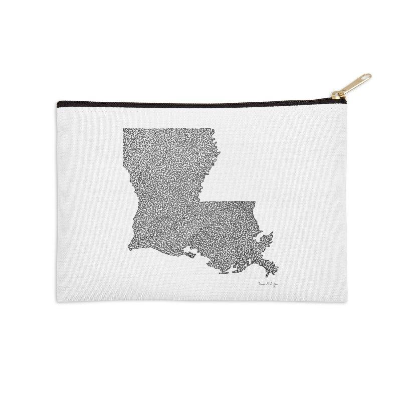 Louisiana - One Continuous Line Accessories Zip Pouch by Daniel Dugan's Artist Shop