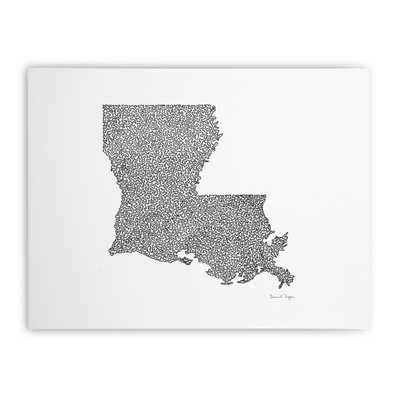 Louisiana - One Continuous Line Home Stretched Canvas by Daniel Dugan's Artist Shop