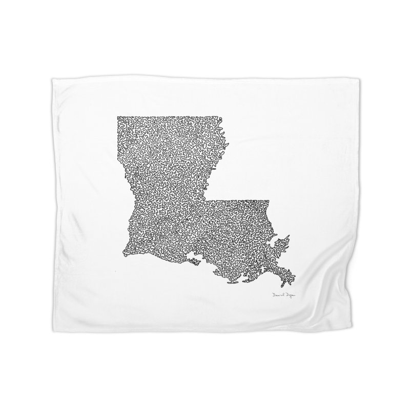 Louisiana - One Continuous Line Home Blanket by Daniel Dugan's Artist Shop
