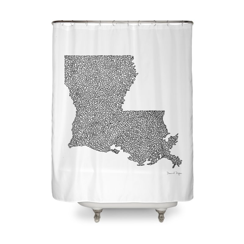 Louisiana - One Continuous Line Home Shower Curtain by Daniel Dugan's Artist Shop