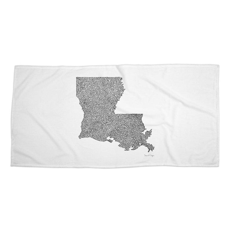 Louisiana - One Continuous Line Accessories Beach Towel by Daniel Dugan's Artist Shop