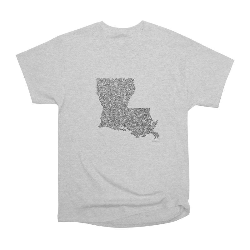 Louisiana - One Continuous Line Women's Heavyweight Unisex T-Shirt by Daniel Dugan's Artist Shop