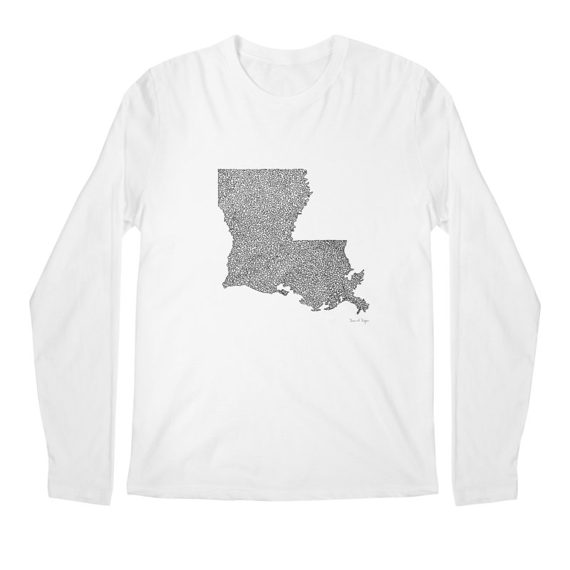 Louisiana - One Continuous Line Men's Longsleeve T-Shirt by Daniel Dugan's Artist Shop