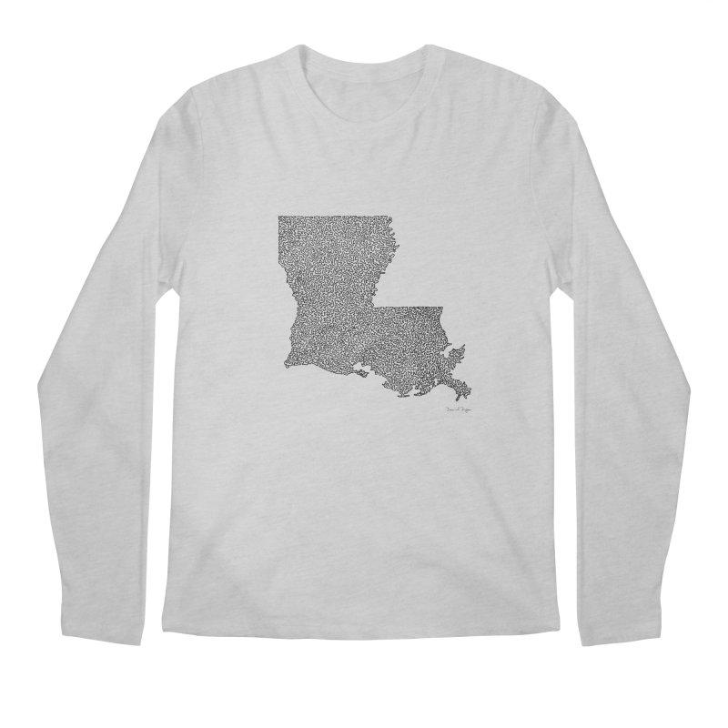 Louisiana - One Continuous Line Men's Longsleeve T-Shirt by Daniel Dugan's Artist Shop