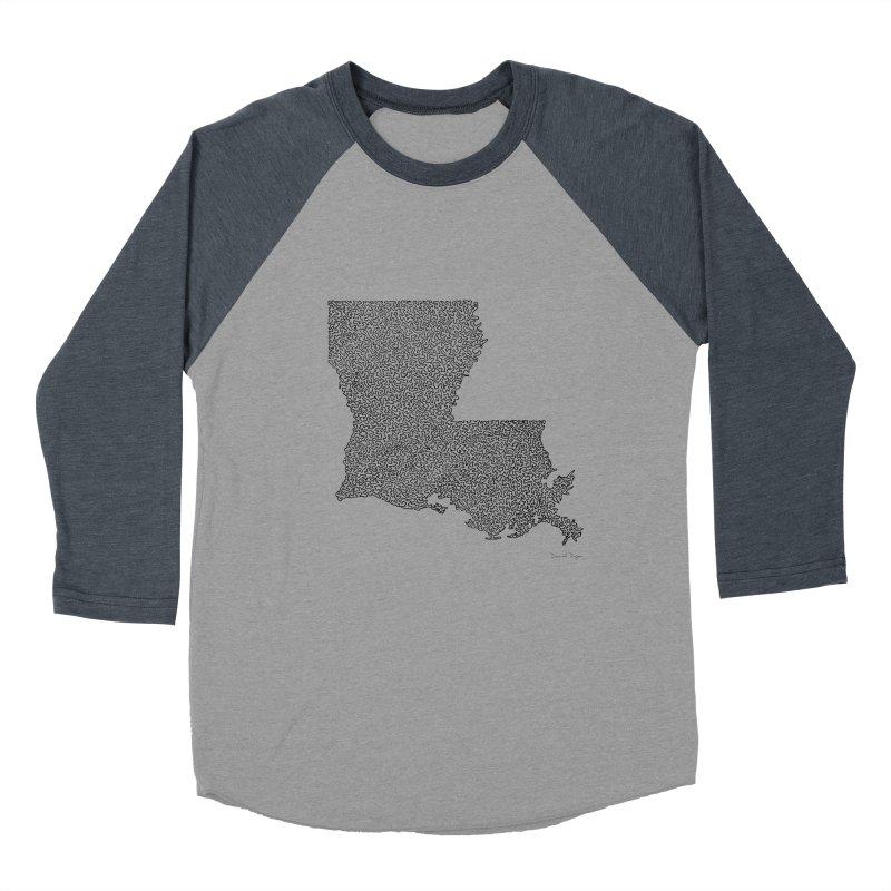 Louisiana - One Continuous Line Men's Baseball Triblend Longsleeve T-Shirt by Daniel Dugan's Artist Shop